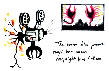"11. The Horror Film Producer (4.5"" x 3"")"